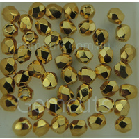 Fire Polish 3mm Spacer Beads - Plated Metallic