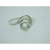 Ladies Round 4mm Fancy Swirl Ring Setting - Size 7