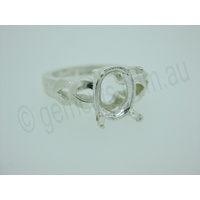 Ladies Oval 10mm x 8mm Double V Shank Ring Setting - Size 7