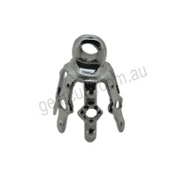Bell Cap 7 Prong Silver Plated