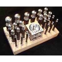 Doming Punch Set of 24 in Wooden Stand with Steel Doming Block