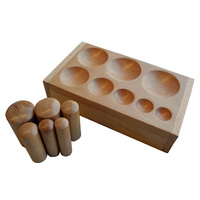 Doming Punch Set of 6 with Wooden Doming Block