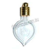 Glass Vial Heart Drop - Gold Cap