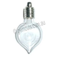 Glass Vial Heart Drop - Silver Cap
