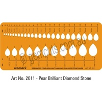 Jewellery Design Template - Pear-Tear Drop / Coloured Stone Guide