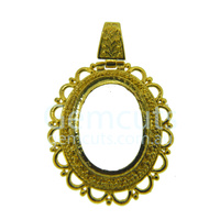 Oval Pendant with Bail - Gold Colour