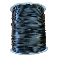 Korean Waxed Cotton Cord - Round - Black - 2mm (Per Metre)