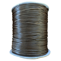 Korean Waxed Cotton Cord - Round - Brown - 2mm (Per Metre)