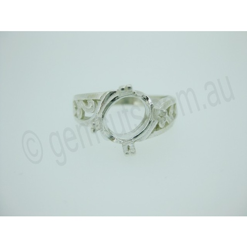 Ladies Oval 10mm x 8mm Fancy Prong Offset Ring Setting - Size 7
