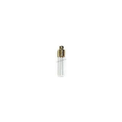Glass vial tube flat end gold cap
