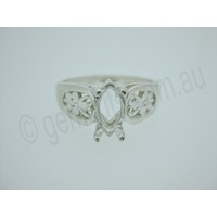 Ladies Marquise 10mm x 5mm Filigree Ring Setting - Size 7