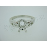 Ladies Oval 8mm x 6mm Double V Shank Ring Setting - Size 7