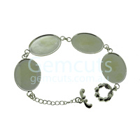 Silver Bracelet Setting – 25x18mm Calibrated Ovals x 4
