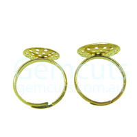 Adjustable Ring Blank Cabochon Setting – Gold