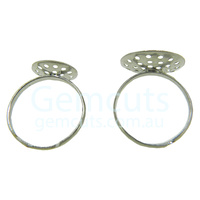 Adjustable Ring Blank Cabochon Setting – Silver