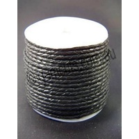 Leather Bolo Cord - Round - Black  - 3mm - 100 Metre Roll