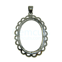 30 x 22 Oval Pendant with Bail - Silver Colour