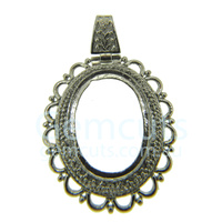Oval Pendant with Bail - Silver Colour