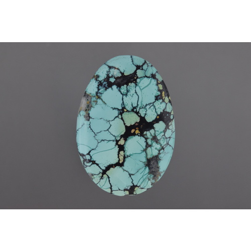Chinese Spiderweb Turquoise Oval Cabochon