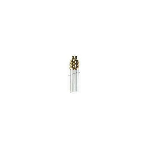 Glass Vial Tube Flat End - Gold Cap